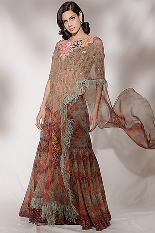 Multi Colored Embroidered Sharara Set by Dolly J