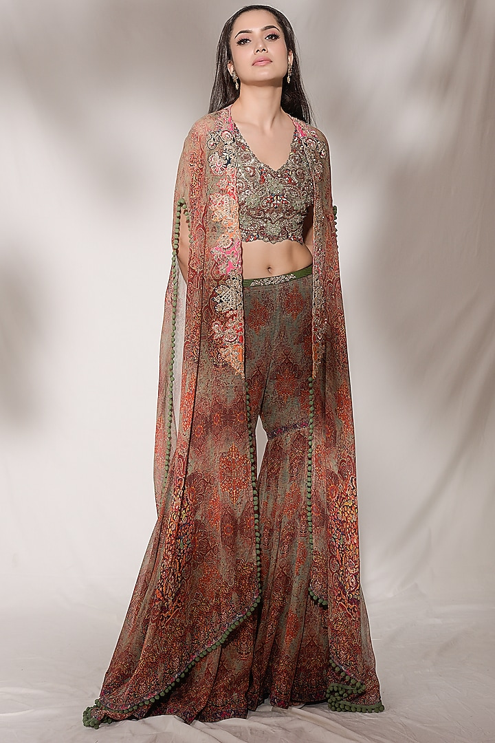 Brown Embroidered Sharara Set by Dolly J
