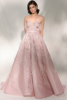 Blush Pink Embroidered Gown by Dolly J