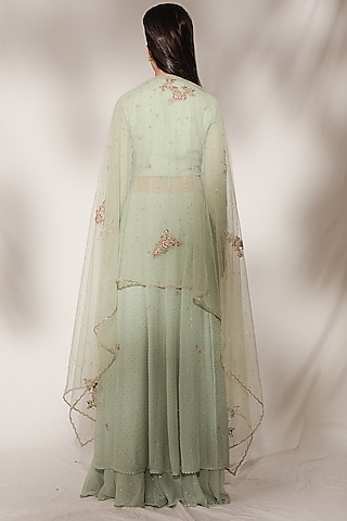 Mint Green Embroidered Sharara Set by Dolly J
