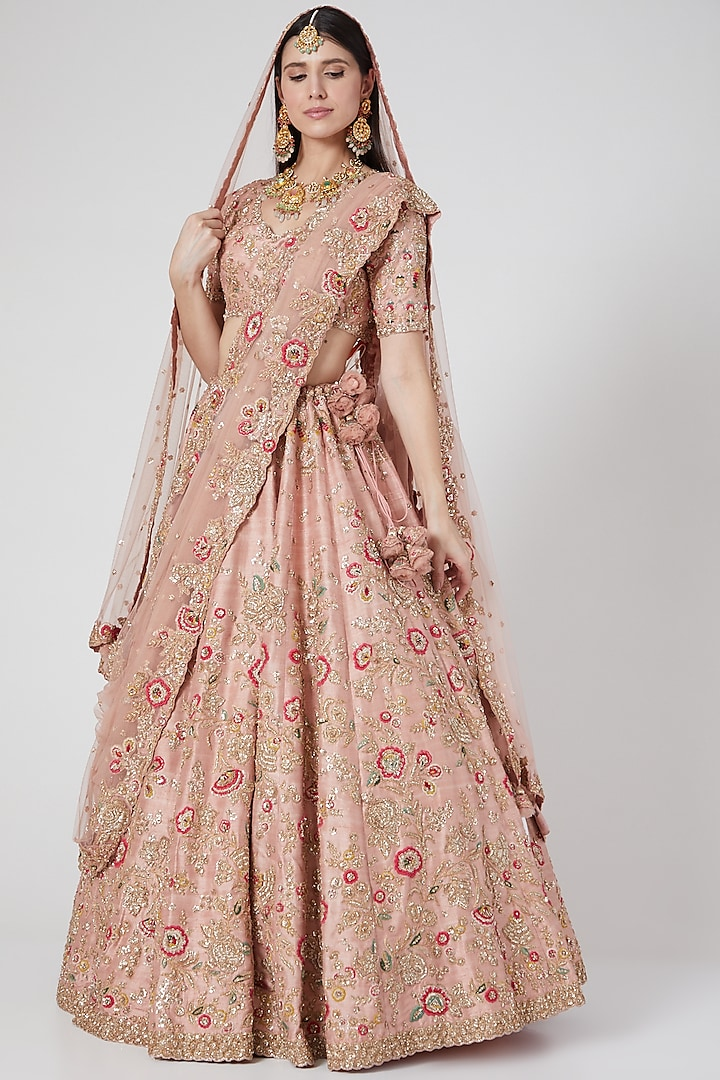 Pale Peach Embroidered Lehenga Set by Dolly J