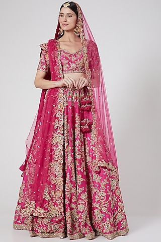 Fuchsia Embroidered Lehenga Set by Dolly J