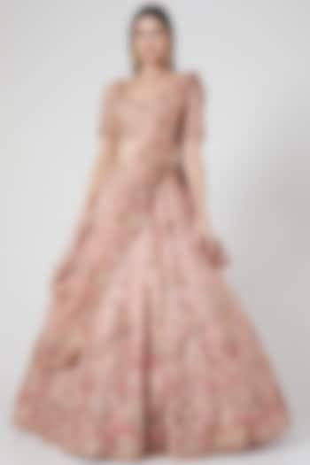 Blush Pink Embroidered Bridal Lehenga Set by Dolly J