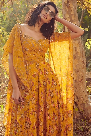 Yellow Sequins Embroidered Jumpsuit by Dolly J