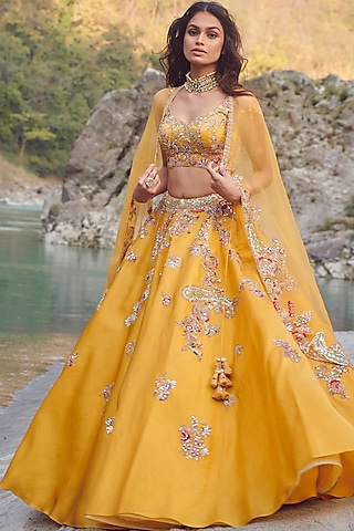 Yellow Embroidered Cape Lehenga Set by Dolly J