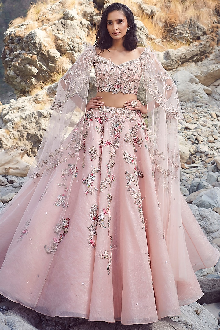 Pink Embroidered Lehenga With Blouse by Dolly J