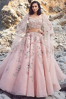 Pink Embroidered Lehenga With Blouse by Dolly J-DOLLY J