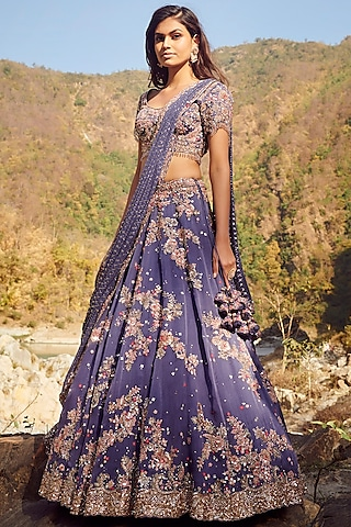 Blue Embroidered Lehenga Set by Dolly J