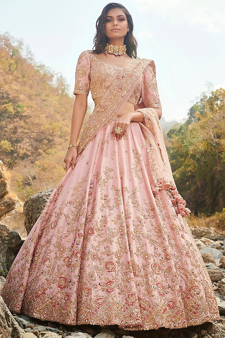 Pink Embroidered Lehenga Set With Two Dupattas by Dolly J