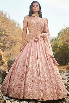 Pink Embroidered Lehenga Set With Two Dupattas by Dolly J-DOLLY J