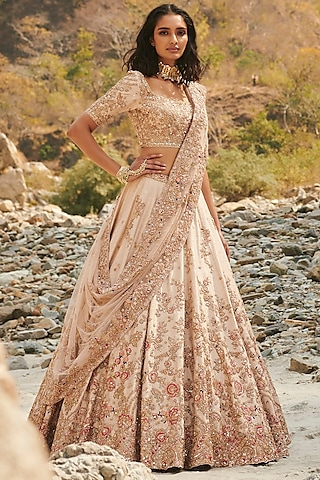 Ivory Embroidered Lehenga Set With Two Dupattas by Dolly J