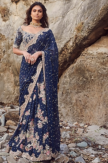 Blue Embroidered Saree Set by Dolly J