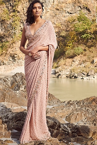 Peach Embroidered Saree Set by Dolly J