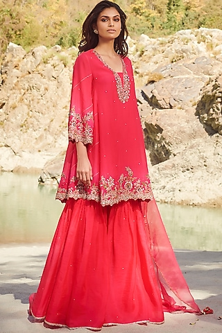 Fuchsia Embroidered Sharara Set by Dolly J