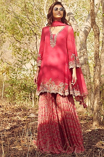 Fuchsia Zardosi Embroidered Sharara Set by Dolly J