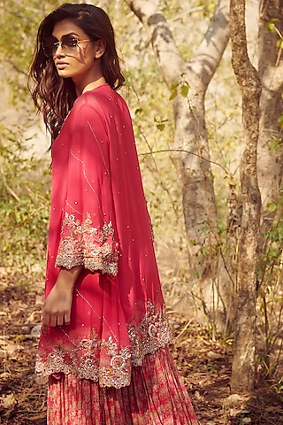 Fuchsia Zardosi Embroidered Sharara Set by Dolly J