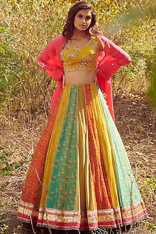 Multi Colored Printed Lehenga Set by Dolly J