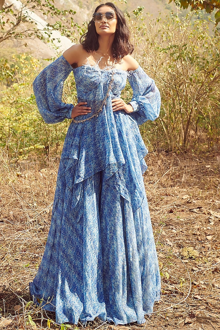 Blue Embroidered Sharara Set by Dolly J