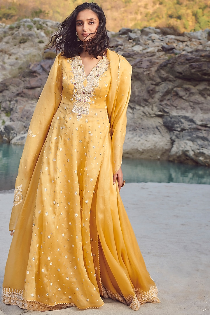 Yellow Embroidered Sharara Set by Dolly J