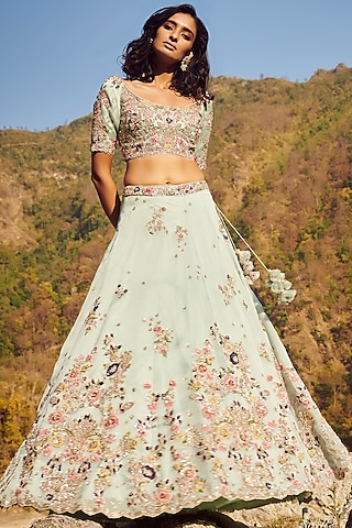 Mint Green Embroidered Lehenga Set by Dolly J