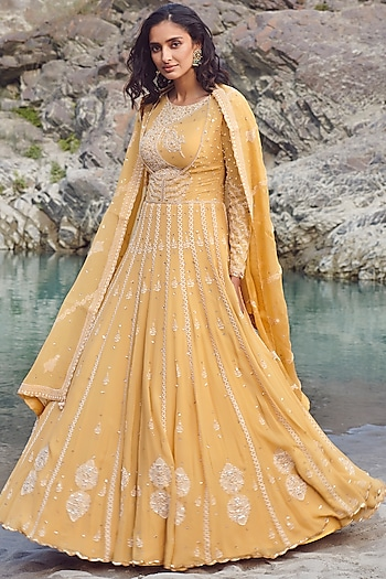 Yellow Embroidered Kurta Set by Dolly J