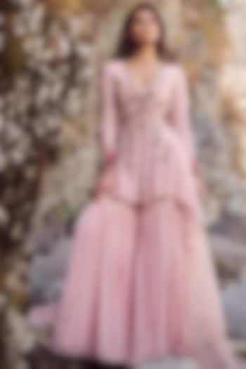 Blush Pink Embroidered Kurta & Sharara Pants by Dolly J