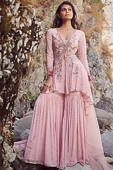 Blush Pink Embroidered Kurta & Sharara Pants by Dolly J-DOLLY J