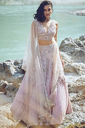 Pink Embroidered Lehenga Set by Dolly J
