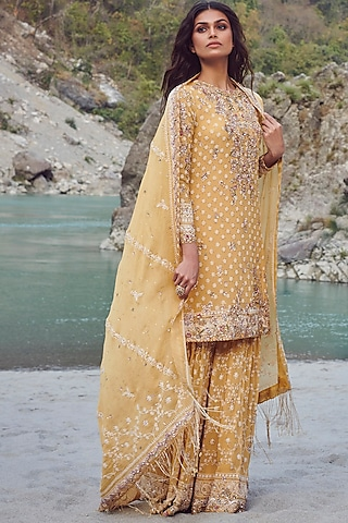 Yellow Chikankari Embroidered Sharara Set by Dolly J