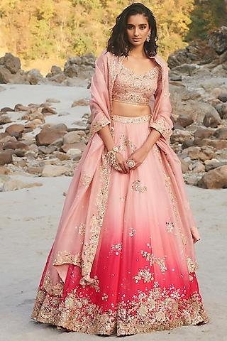 Fuchsia Zardosi Embroidered Lehenga Set by Dolly J