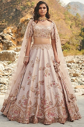 Ivory Zardosi Embroidered Lehenga Set With Two Dupattas by Dolly J