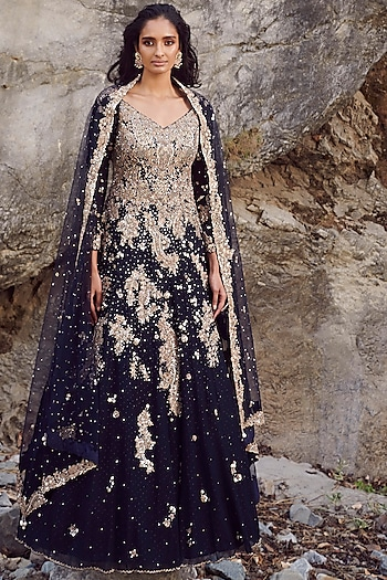 Midnight Blue Embroidered Kurta Set by Dolly J