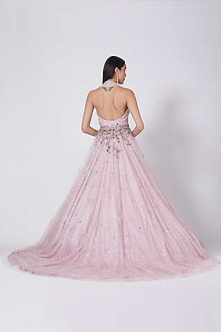 Pale Pink Shimmer Tulle Gown by Dolly J