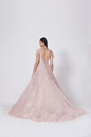 Blush Pink Gown With Trail by Dolly J