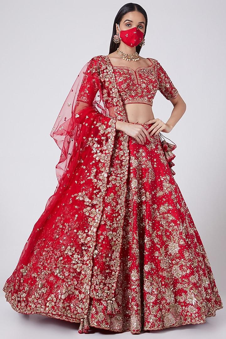 Red Kalidar Lehenga Set by Dolly J