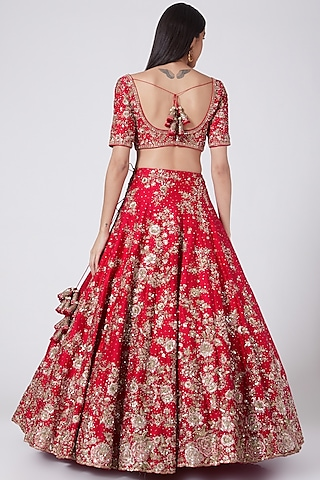Red Kalidar Lehenga Set by Dolly J