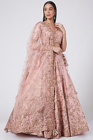 Pale Pink Kalidar Lehenga Set by Dolly J