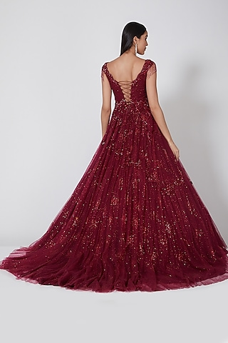 Scarlet Shimmer Gown With Trail by Dolly J
