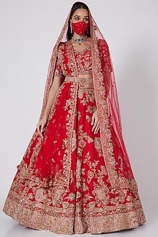 Red Raw Silk Lehenga Set by Dolly J