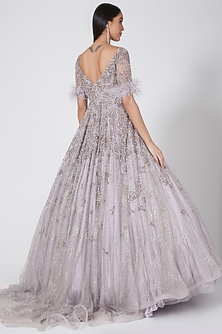 Lilac Shimmer Gown With Feather Trimmings by Dolly J