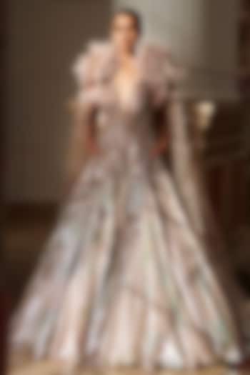 Ivory Handwoven Bridal Gown With Cape by Dolly J