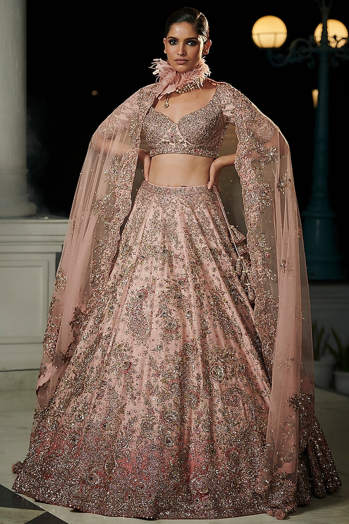 Rose Pink & Berry Red Ombre Bridal Lehenga Set by Dolly J