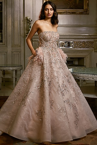 Powder Pink Embroidered Gown by Dolly J