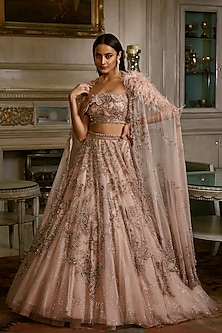 Blush Pink Embroidered Lehenga Set by Dolly J