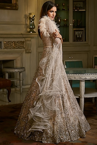 Silver Emrboidered Gown With Belt by Dolly J