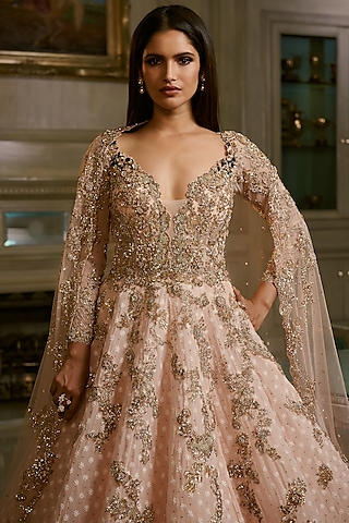 Peach Embroidered Gown With Dupatta by Dolly J