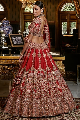 Maroon Embroidered Bridal Lehenga Set by Dolly J