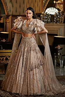 Gold Embroidered Lehenga Set With Cape by Dolly J