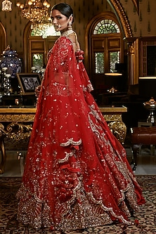 Red Embroidered Bridal Lehenga Set With Two Dupattas by Dolly J
