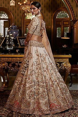 Ivory Embroidered Lehenga Set With 2 Dupattas by Dolly J